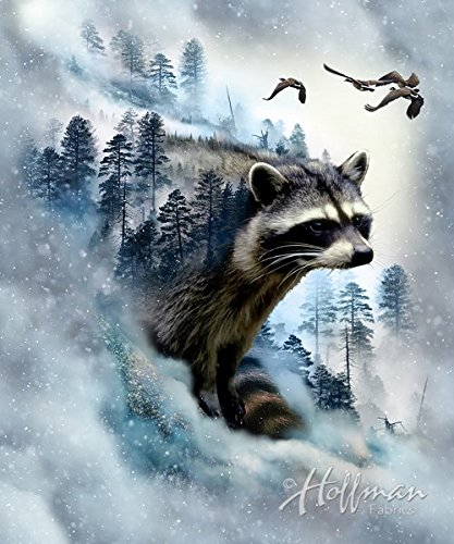 Raccoon Fabric Panel - Call of the Wild Digital Print - 27
