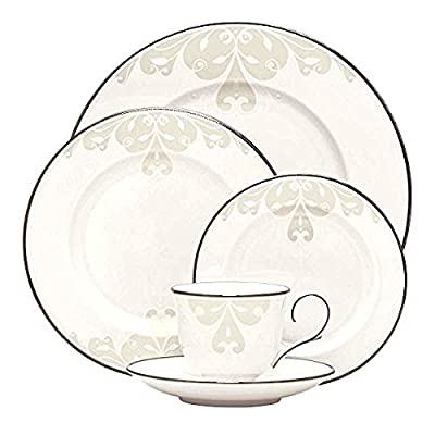 Lenox Opal Innocence Scroll 5-Piece Place Setting, White - Crafted of Lenox white bone china accented with precious platinum Hand-applied enamel dots Dishwasher-safe - kitchen-tabletop, kitchen-dining-room, dinnerware-sets - 51A6p6q StL. SS400  -