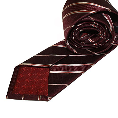 Gucci Striped Woven Silk Tie, Burgundy Red Woven Silk Tie 351806 (Gucci Woven Tie)