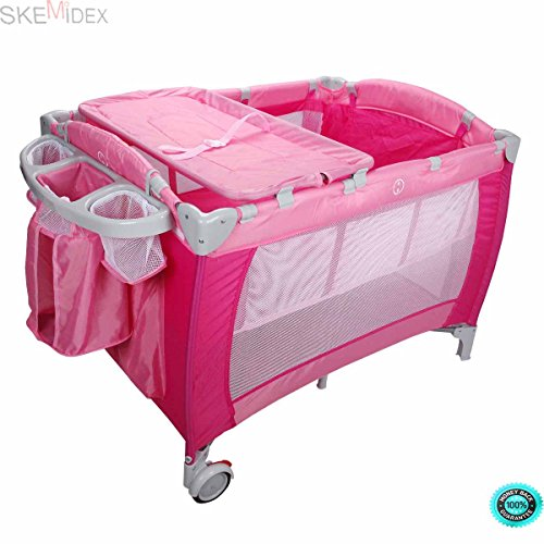SKEMiDEX--- Baby Crib Playpen Travel Infant Bassinet Bed Mosquito Net Music w Bag This Baby Playpen is a sturdy and durable accessory that will provide your baby with hours of entertainment by SKEMiDEX