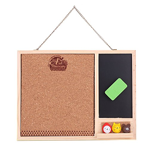 Sport Kids Bulletin Board - Wooden Hanging Chalkboard Set with 1 Chalk Eraser + 3 Cute Push Pin Drawing Office Wall- Mounted Home Message Bulletin Board
