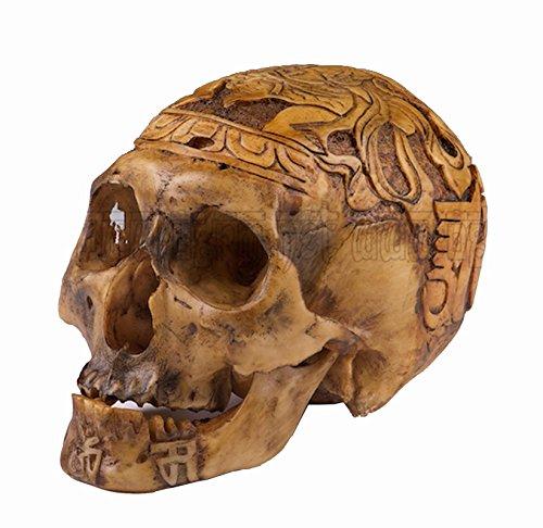 Fine Handmade Kapala Carved Resin Replica 1:1 Human Skull Tibetan Buddhism Buddha Pattern OD06