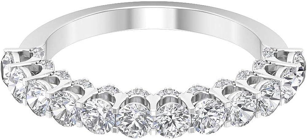 Anillo de promesa de mujer de 1,50 quilates con diamantes de mitad de eternidad para ella, anillo de promesa de aniversario de novia, anillos simples de compromiso a juego, 14K Oro blanco