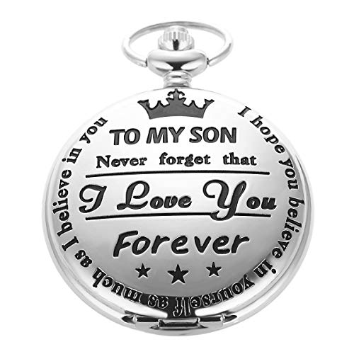 SIBOSUN Pocket Watch Men Fob Quartz Engraved Carved to My Son I Love You, Mom Dad Christmas Gift - Silver -
