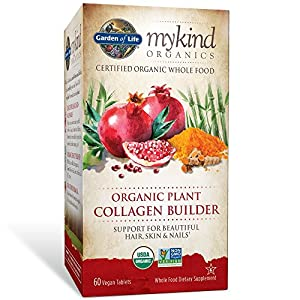 Garden of Life Organic Plant Collagen Vegan mykind Collagen Builder for Hair, Skin and Nail Health, 60 Tablets