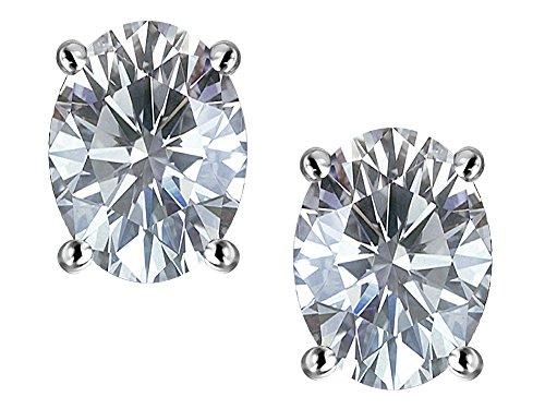 Star K Oval 8x6mm Genuine White Topaz Earrings Studs Sterling Silver (Prong Topaz Star White)
