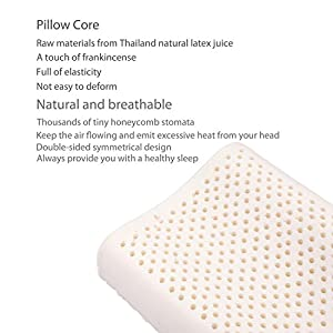 Kids Latex Pillow With Pillowcase Natural And Healthy Toddler Pillows For Sleeping White – 19.7×11.8×3.1/3.9inches(Suitable for 3-16 years old)