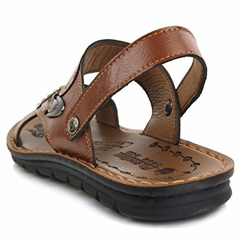 Männer Sommer Echtleder Sandalen Echtleder Strand Schuh draussen Bewegung Freizeit Sandalen Mode Atmungsaktiv Männer Schuh ,Khaki,US=8.5,UK=8,EU=42,CN=43