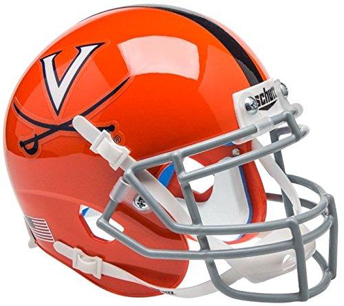 Schutt Virginia Cavaliers Mini Authentic Helmet - Orange w/Stripe - NCAA Licensed - Virginia Cavaliers - Virginia Stripes Ncaa Cavaliers