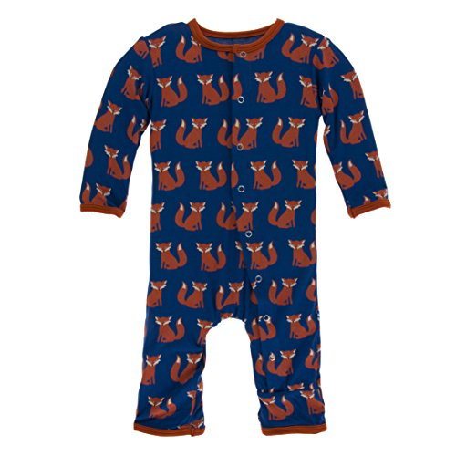 Kickee Pants Little Boys Print Coverall with Snaps - Navy Fox, 0-3 Months