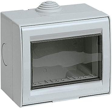 takestop® - Caja de 3 módulos para interruptores de Pared, JK_LK44003, IP55, Caja para Exterior, Placa de Puerta, Estanque, protección de enchufes: Amazon.es: Electrónica