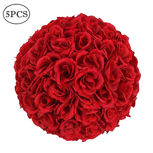 Amailtom 10 Inch Artificial Satin Flower Ball Romatic Wedding Flower Balls Kissing Balls Bouquet for Bridal Wedding Party Ceremony Centerpieces Decoration(5 Pack,Wine Red)