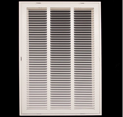 14'' X 20 Steel Return Air Filter Grille for 1'' Filter - Fixed Hinged - ceiling Recommended - HVAC DUCT COVER - Flat Stamped Face - White [Outer Dimensions: 16.5''w X 22.5''h] by HVAC Premium