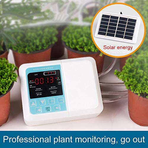 Jiaboyu Solar Watering Device,DIY Automatic Drip Irrigation Kit, Intelligent Solar Energy Charging Potted Plant Drip Irrigation Water Pump Timer System Double Pump 2