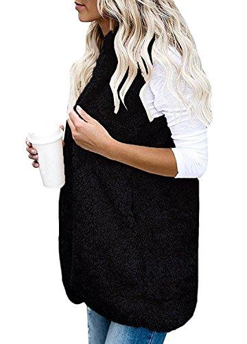 Hiver Printemps Gilet Manteau Femmes Poches Cardigan Capuche En Sans Hoodie Avec Sherpa Noir Peluche Chaud Veste Minetom Manches Outwear fgxIHBwqxn