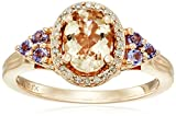 10k Pink Gold Morganite and Tanzanite and Diamond Oval Ring (1/10cttw, I-J Color, I3 Clarity), Size 7