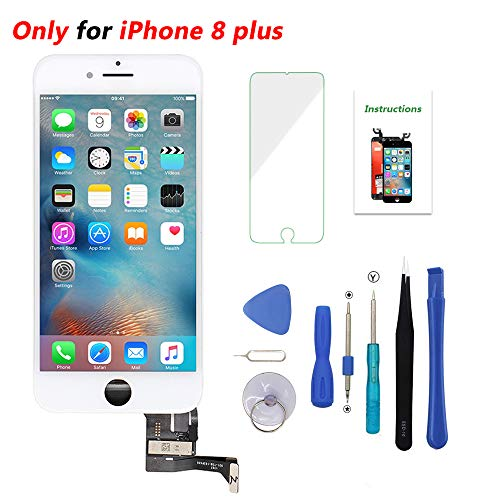 Screen Replacement for iPhone 8 Plus White 5.5 inch 3D Touch LCD Screen Digitizer Replacement Frame Display Assembly Set with Repair Tool Kit