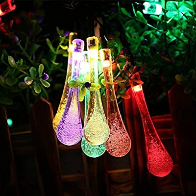 Solar Outdoor String Lights,Xpassion 20ft 30 LED Water Drop Solar String Fairy Waterproof Lights for Garden, Patio, Yard, Home, Christmas Tree, Parties