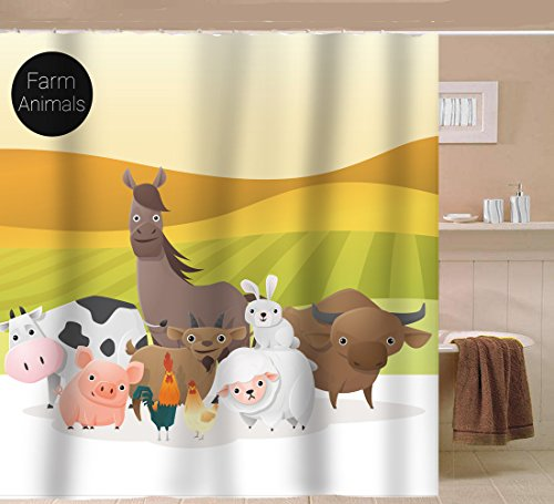 Sunlit Farm Animals in Golden Green Field PVC-Free Odorless White Fabric Cartoon Shower Curtain with Bunny Sheep Horse Cow Piggy (Cow Sheep)