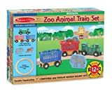 Melissa & Doug Zoo Animal Wooden Train Set (12+ pcs)