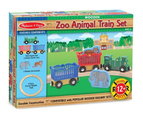 Melissa & Doug Zoo Animal Wooden Train Set (12+ pcs) ()