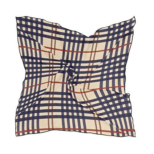 Stripes Plaid Print Womens Silk Scarf Square Scarves Lightweight Neck Shawl Satin Headscarf