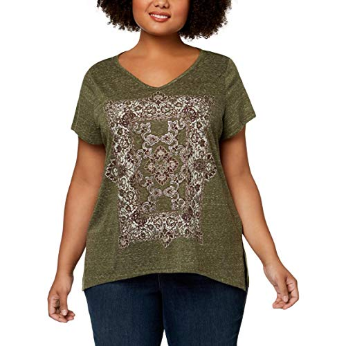 Style & Co. Womens Plus Metallic Short Sleeves T-Shirt Green 2X from Style & Co.
