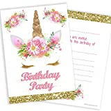Olivia Samuel Unicorn Girls Party Invitations - Pink and Gold (Glitter effect print) with Envelopes...