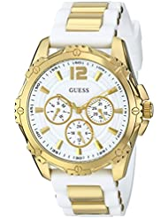 GUESS Womens U0325L2 Watch With White Silicone Band