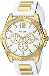 GUESS Women's U0325L2 Watch With White Silicone Band