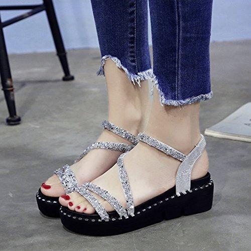 Confort Moda black Lady Sandalias Calzado Toe de Playa de Antideslizante Verano Toe YMFIE Lentejuelas n8pxwfqOfd