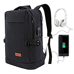 Yomuder Laptop Backpack, College Students School Bag Water Resistant Travel Computer Backpack for Men Women with USB Charging Port and Headphone Port, Fits Laptop Notebook up to 15.6 Inches (Black)