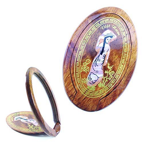 Classical Look Crafted Woman Mirror Wood Mother of Pearl Inlaid Lady Female Figure Cute Portable Handmade Mirror Make Up Cosmetic Mirror for Women EC-22