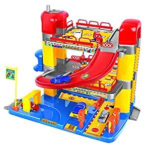junior toy garage three levels with working lift and six cars toys games. Black Bedroom Furniture Sets. Home Design Ideas