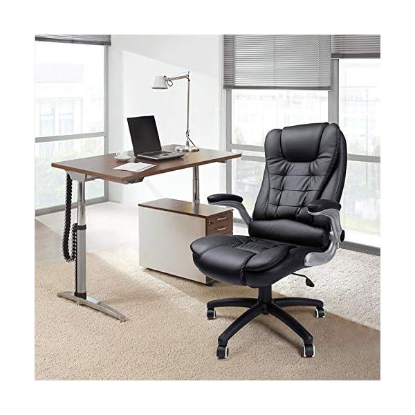 Poltrona Girevole X Ufficio.Display4top Poltrona Girevole Per Ufficio Con Schienale Alto In Pu E