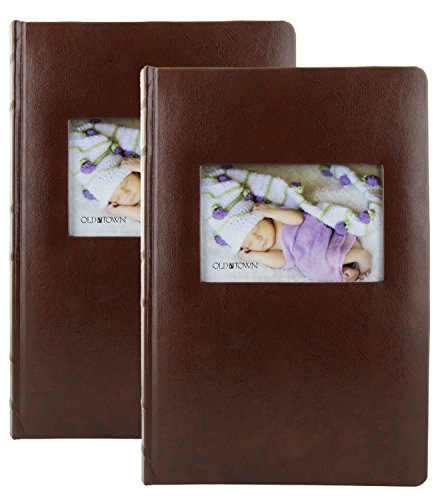 2 Pack Old Town Leather Photo Albums - Brown