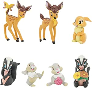HanYoer 7 pcs Lovely Fawn Animal Characters Toys Mini Figure Collection Playset, Cake Topper, Plant, Automobile Decoration
