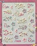 Colorful Flower Pink Rhinestone Heart Nail Sticker