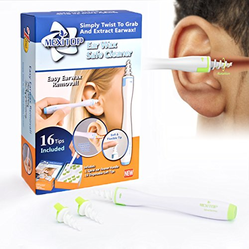 MEXITOP Ear Wax Cleaner, 16 New-Designed Replacement Tips, Ear Pick Spiral Improves the Effect of Ear Wax Removal Drop + Bonus Noise Canceling Ear Plugs, Green (Upgraded Version)