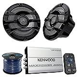 Marine Speaker And Amp Combo Of 4x Kenwood KFC2053MRB 8'' 2-Way 300w Car Marine Boat Yacht Outdoor Black Speaker Bundle With 400-Watt 4-Ch. Waterproof Bluetooth Amplifier + Enrock 50Ft 16g Speaker Wire