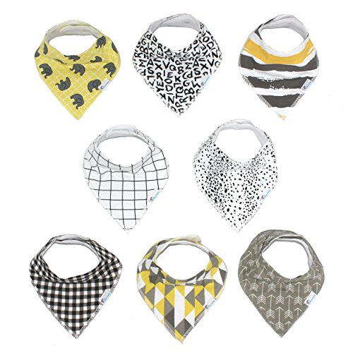 Baby Bandana Drool Bibs Unisex 8-Pack Absorbent Drooling & Teething Bib With Snaps Baby Shower Gift Set by Dino ()