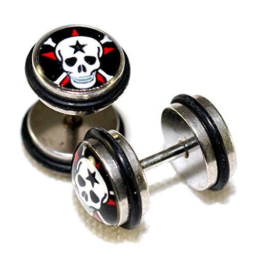 Skull & Cross Bones Stainless Steel Fake Cheaters Faux Illusion Plugs 0G Gauge 8mm 1 Pair (Bone Plug Cross)