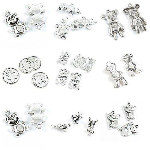 26 Pieces Antique Silver Tone Jewelry Making Charms Koala Bear Winne Cartoon Winnie Doll Sign Lady Polar from 4044 Charms