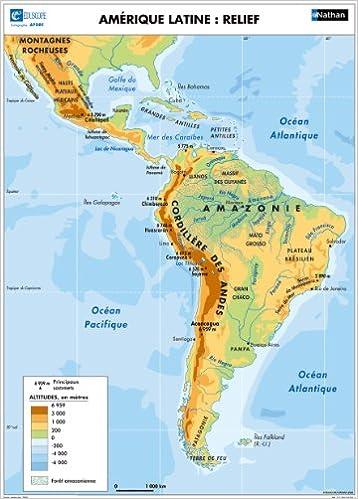 carte de l amerique latine L'Amérique latine : Relief / Politique (Cartes murales géographie