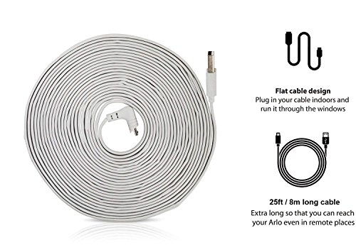 Weatherproof 25ft/7.6m Cable Compatible with Arlo Pro & Arlo Pro 2 — by Wasserstein (White)