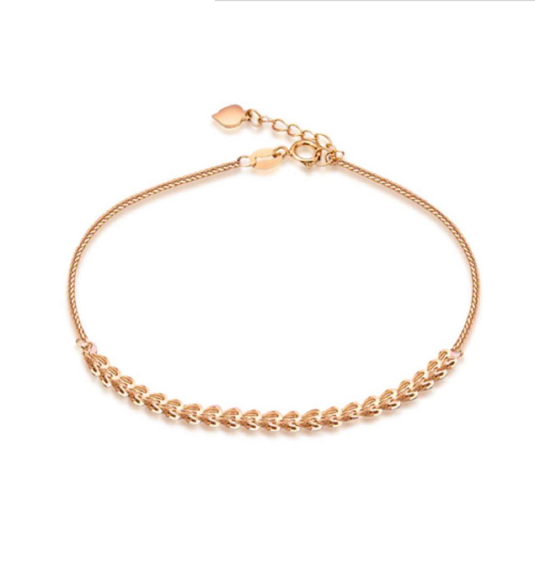 GOWE Luxury 18K Rose Gold Pteris Chain Women Bracelets Lady Wedding Engagement 19cm Bracelets by GOWE