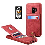 Samsung Galaxy S9 Wallet Case for Galaxy S9 Credit Card Case Spaysi Galaxy S9 Leather Wallet Case for S9 Magnetic Closure Kickstand Gift Box (Red)