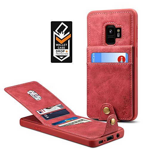 Samsung Galaxy S9 Wallet Case for Galaxy S9 Credit Card Case Spaysi Galaxy S9 Leather Wallet Case for S9 Magnetic Closure Kickstand Gift Box (Red) by Spaysi