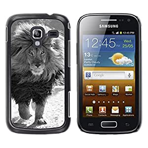 Caucho caso de Shell duro de la cubierta de accesorios de protección BY RAYDREAMMM - Samsung Galaxy Ace 2 I8160 Ace II X S7560M - White Male Lion Powerful