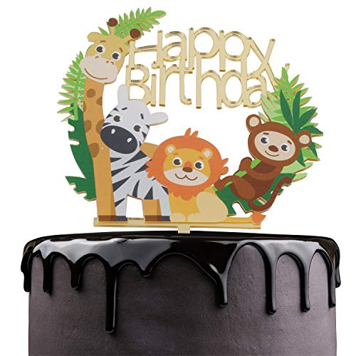 Jungle Safari Cake - Happy Birthday Cake Topper - Animated cartoon Theme Party Cake Décor - Baby Shower Boys Girls Birthday Anniversary Party Supplies - Adorable Mirrored Gold Acrylic Decorations